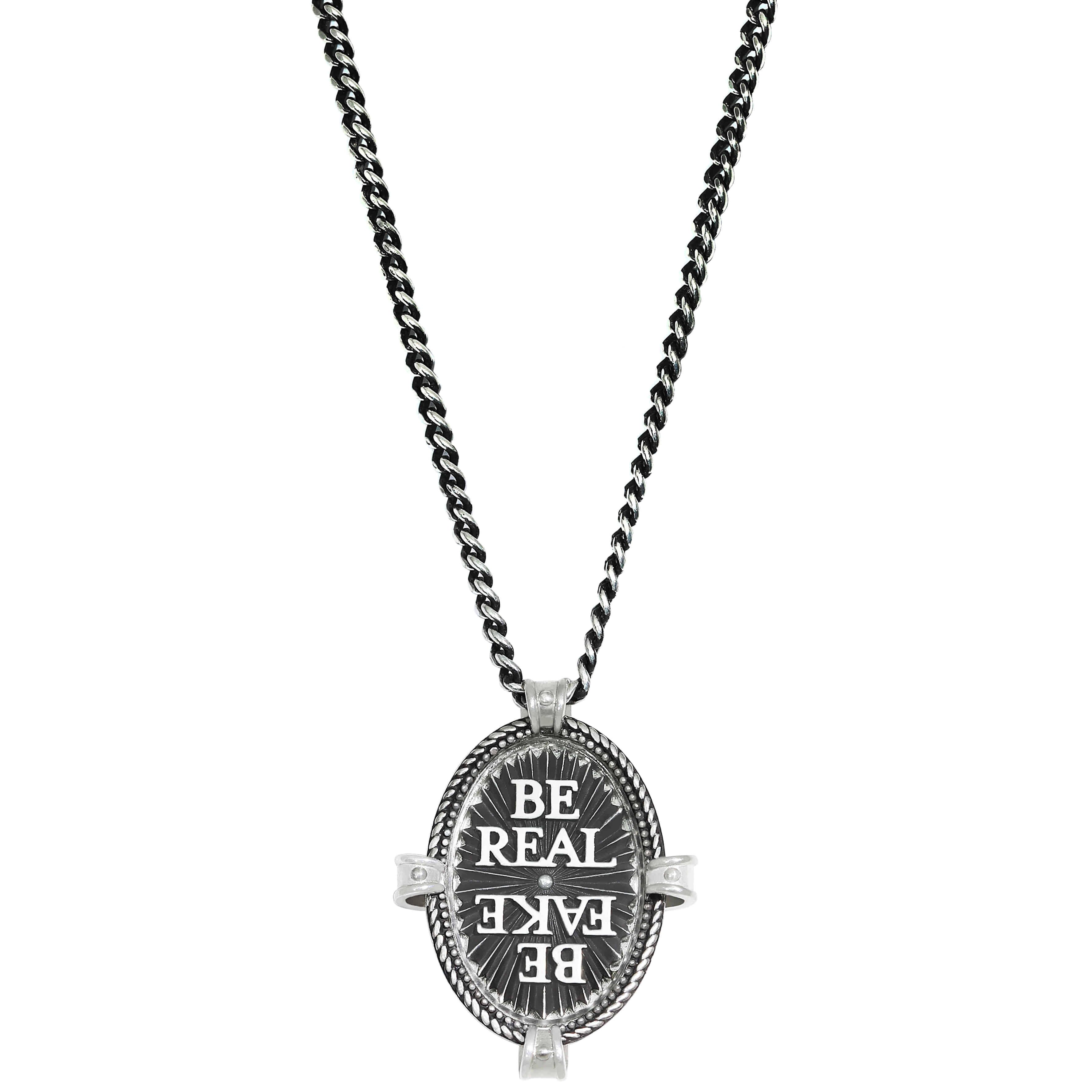 'BE REAL BE FAKE' Clear 3way Necklace