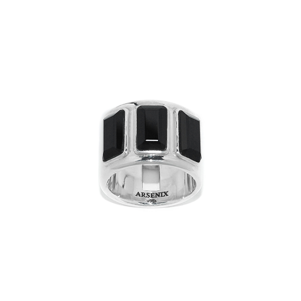 Three Onyx Reversible Cigar Band Ring